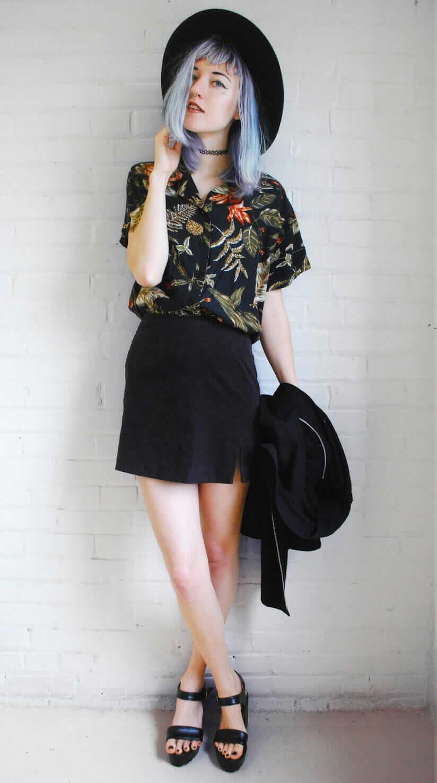 5902bd205 Black High Waisted Skirt Outfit Ideas | Saddha