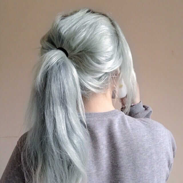 Grunge Pastel Green Hairstyle with Ponytail