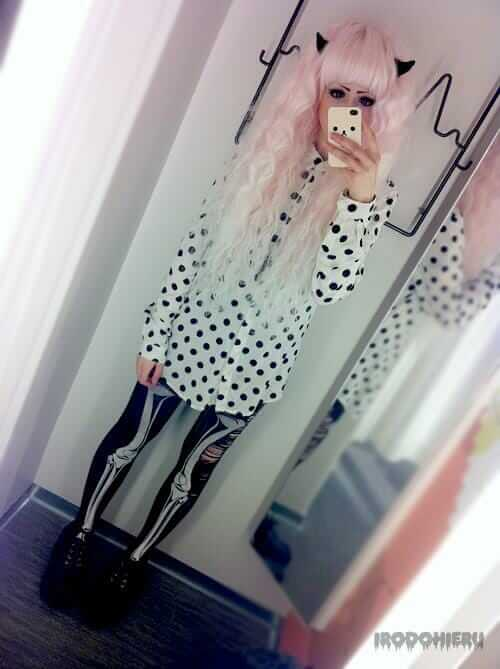 Pastel Goth Outfit - Skeleton printed Tights with Polka dot Shirt