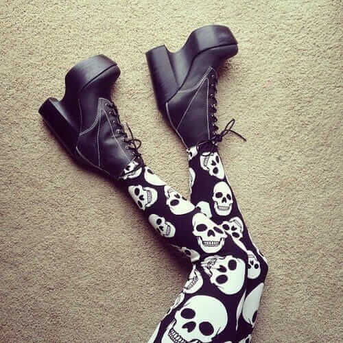 Pastel Goth Skull Leggings with platform shoes