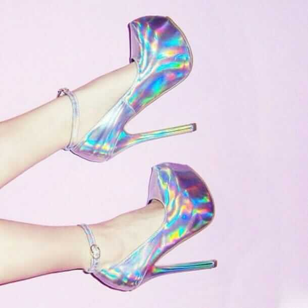Holographic Silver High Heels Shoes - $45.00 USD