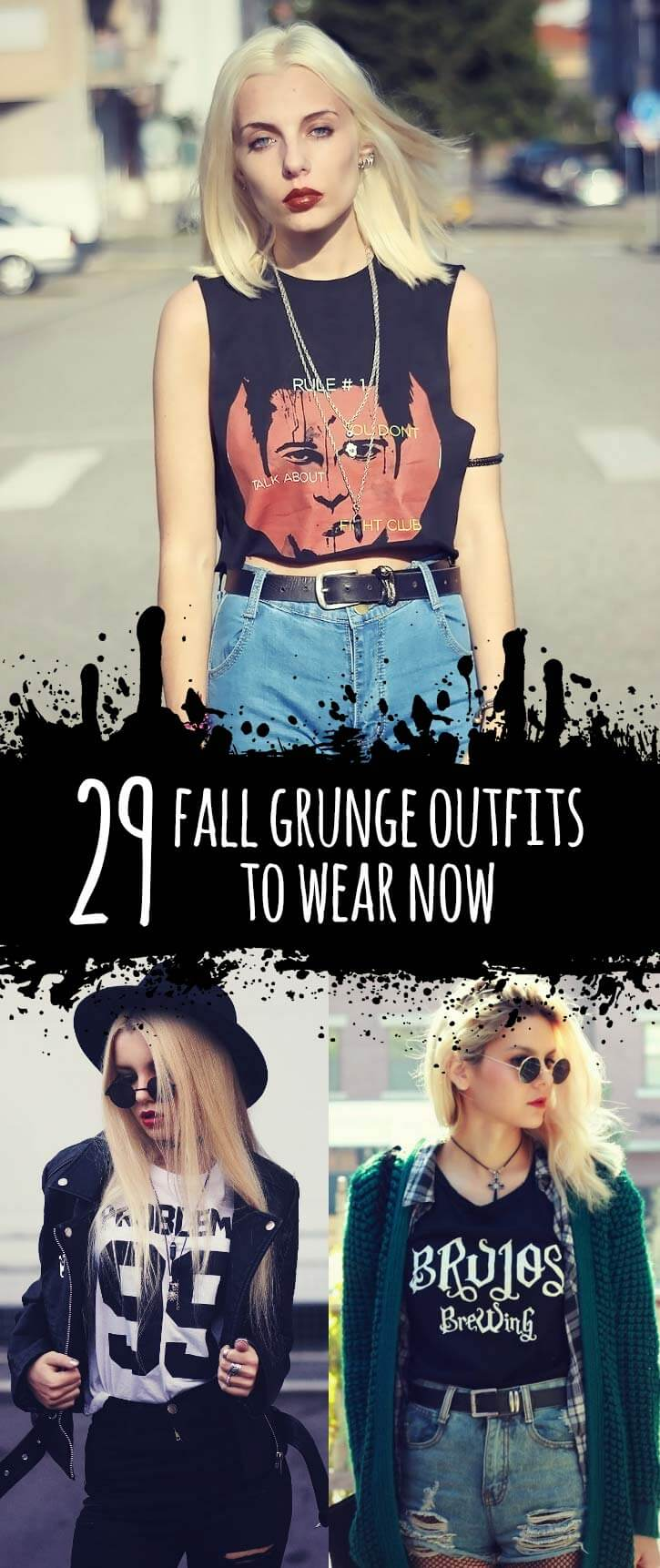 29 Fall Grunge Outfit Ideas to Wear Now - https://ninjacosmico.com/29-grunge-outfit-ideas-fall/