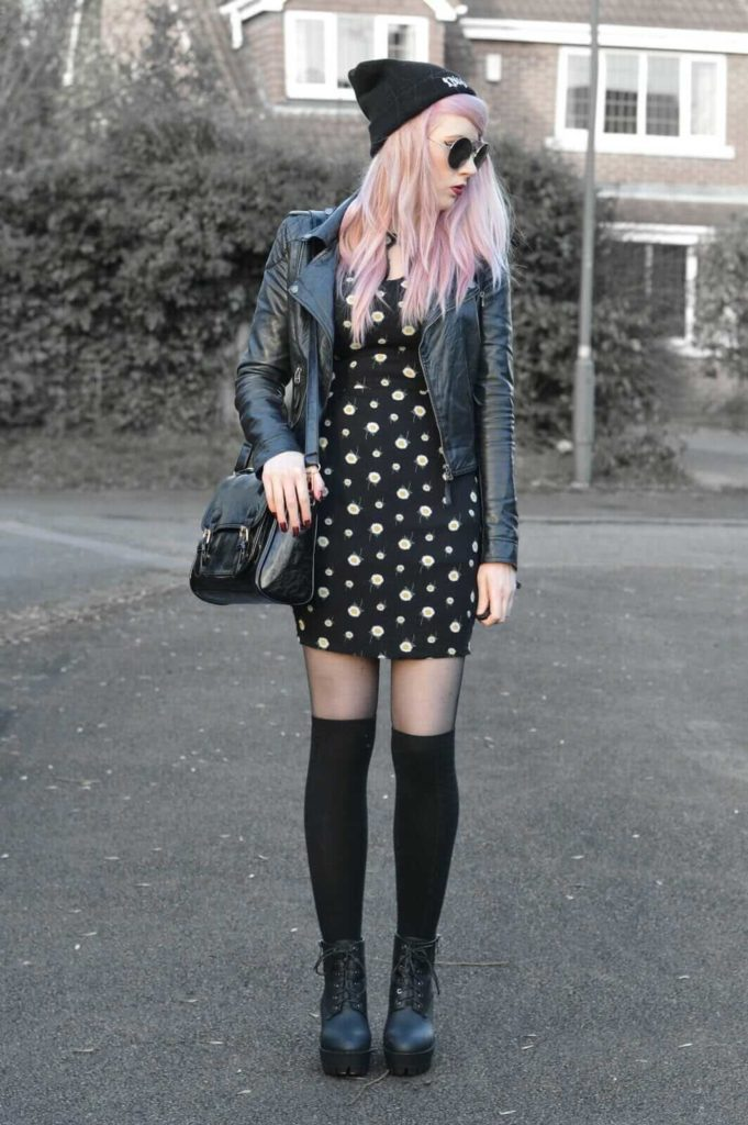 Biker jacket, Daisy dress, Satchel bag, Beanie hat, Sunglasses, Black tights, Long socks & Chunky boots