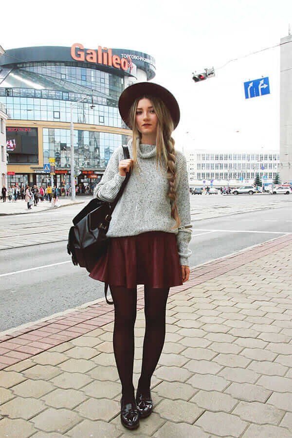 Grey High Neck Hollow Long Sleeve Knit Sweater, Elastic Waist Flare Maroon Skirt, Wine Red Casual Oversize Hat, Monki Patent Tassel Loafers & Buckle-loop Backpack Cover Zip Up