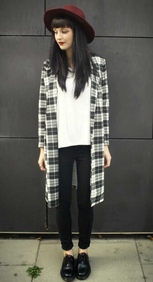 Oversized Fedora Hat, Black and White Tartan Jacket, White Tshirt & Black Pants