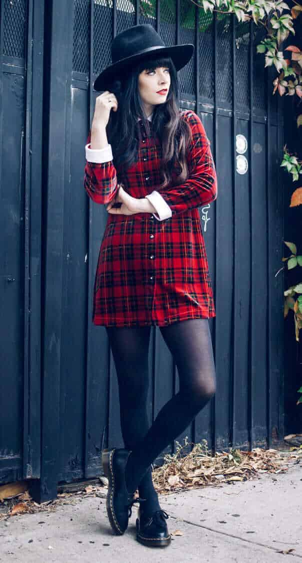 Oversized Fedora Hat, Vintage Plaid Dress & Dr. Martens Siano Shoes
