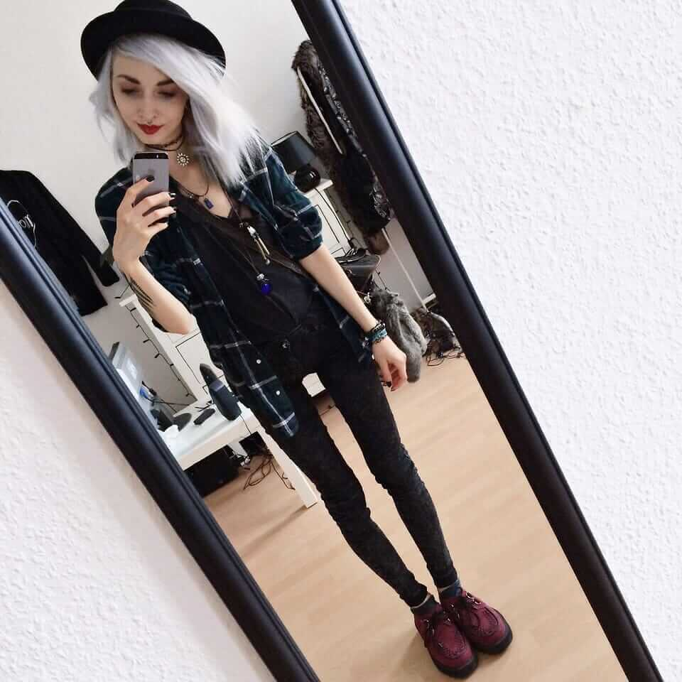 Plaid Shirt, T.U.K. Ruby Red Creepers, Grey Denim Jeans, Basic Black Tee, Top Hat, Choker, Tunisian Leatherbag & Faux Fur Fox Keychain