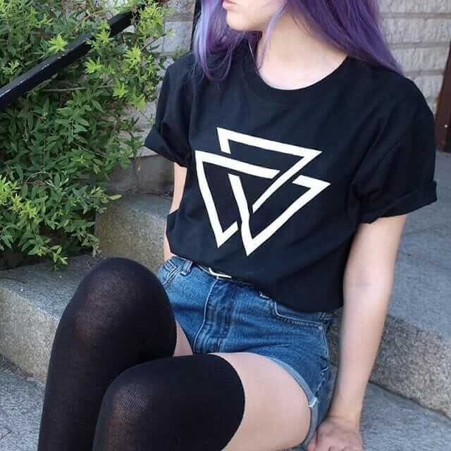 Denim Short with Purple Dyed Hairstyle, Long Socks and T-Shirt