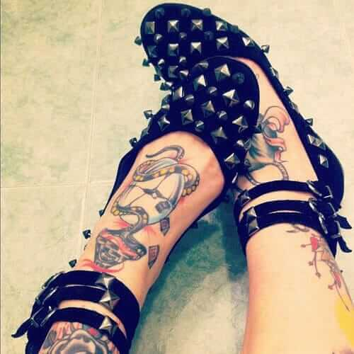 Grunge Ballet Flats with Metal Spikes