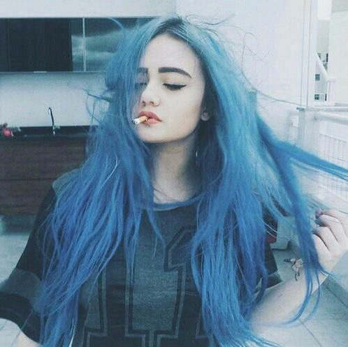 Pastel Goth Blue Long Hairstyle