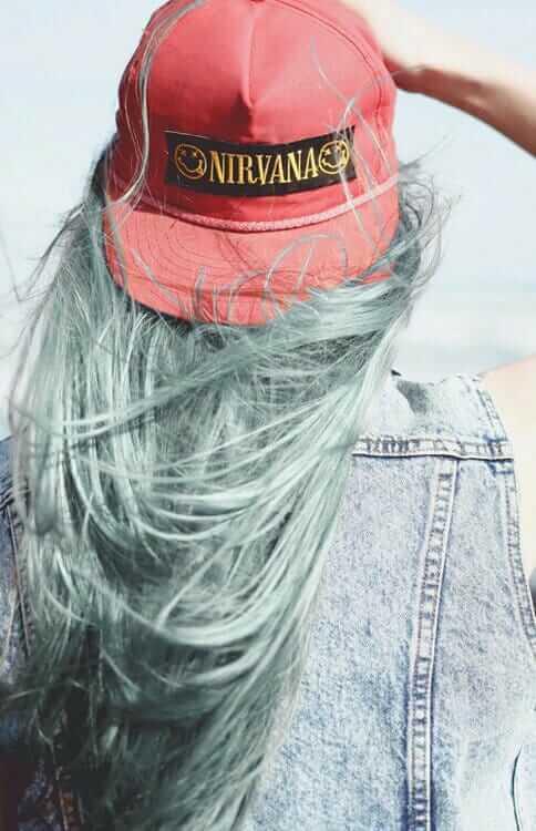 Pastel Grunge Dyed Hairstyle with Nirvana Snapback and Denim Jacket