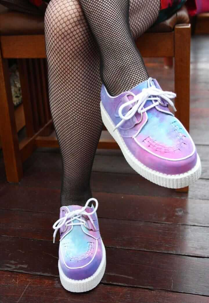 Pastel Grunge Inspired Creepers Shoes with Fishnet Socks
