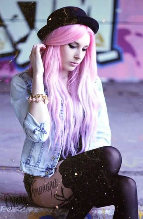 Pastel Grunge Outfit with Pastel Purple Dyed Hairstyle, Denim Jacket, Hat, Floral Band and Leggings