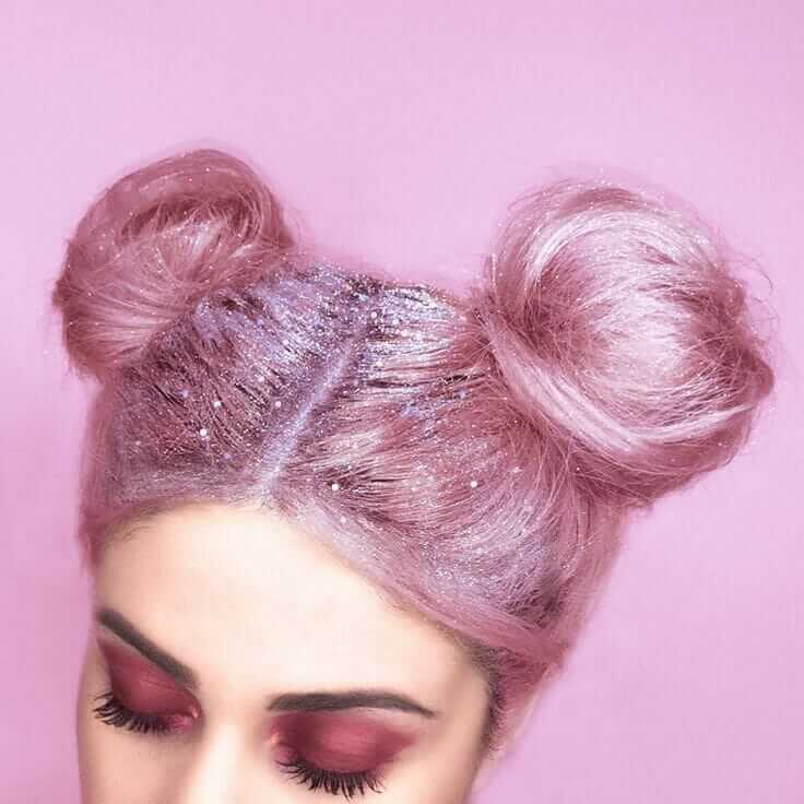 Pastel Grunge Pink Hairstyle Style with Buns