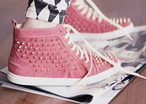 Pink Spiked Converse Shoes