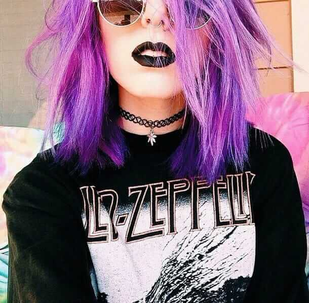 Pastel Grunge Led Zeppelin Inspired Outfit with Purple Dyed Hairstyle, Chokers Necklace, Septum Piercing, Black Lipstick and Sunglasses