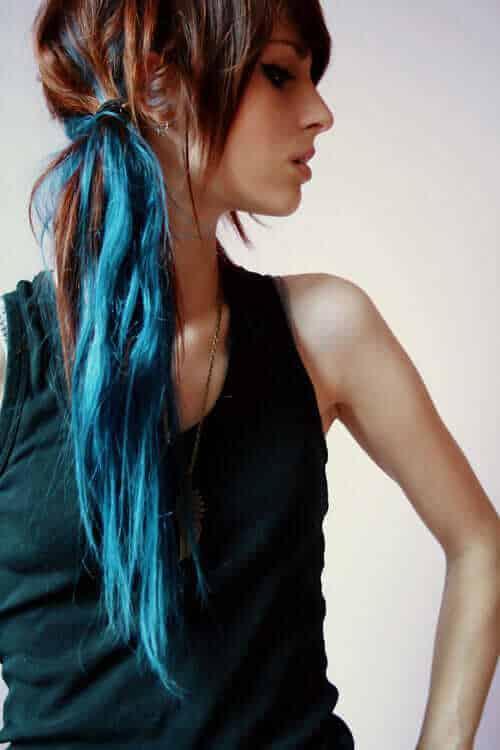Brown and Blue Dip Dye Hair