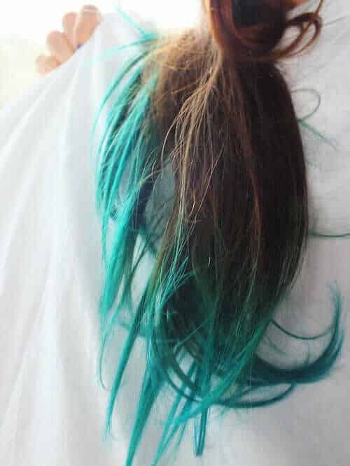 Teal Dip Dye Hair Idea to try