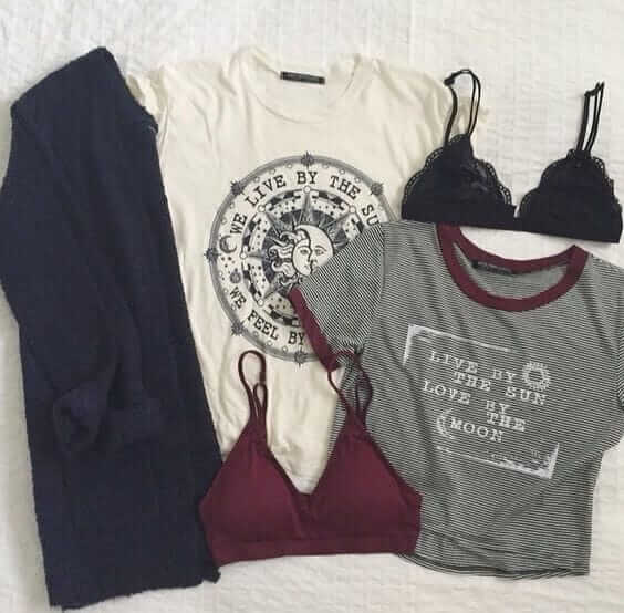 Grunge outfit idea nº13: Navy cardigan jacket, white T, a short Varsity-esque T, maroon bra, and a black bra