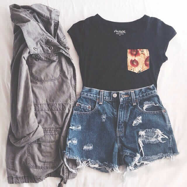 Grunge outfit idea nº17: Black T with floral pocket, tattered jean shorts, grey canvas jacket