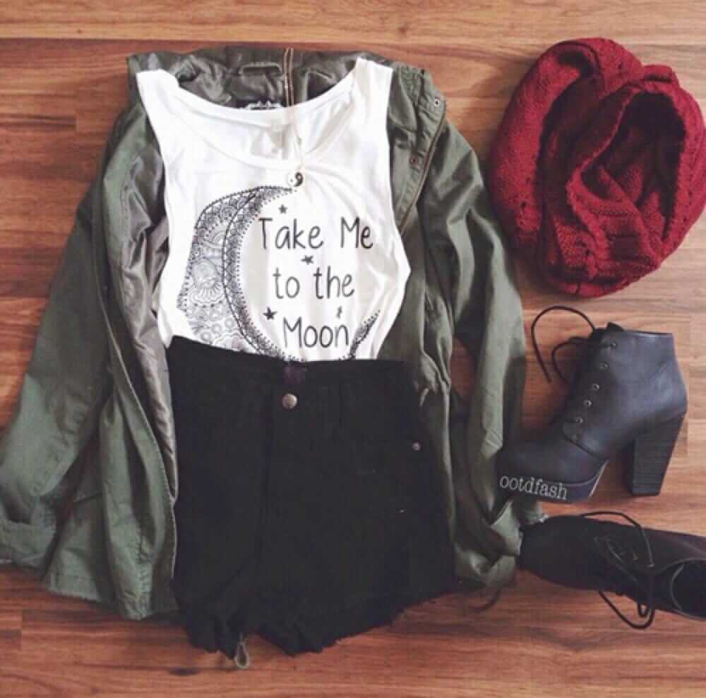 Grunge outfit idea nº2: Green canvass jacket, ripped jean shorts, white Singlet-T, crimson scarf, and lace-up heel boots