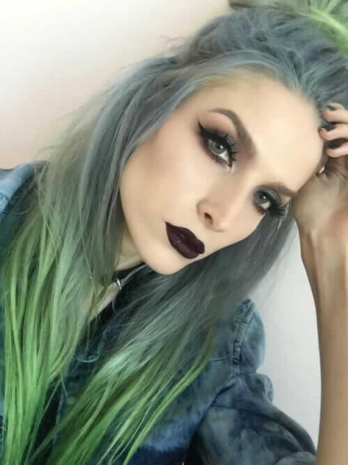 Black lipstick with grey smokey eyeshadow