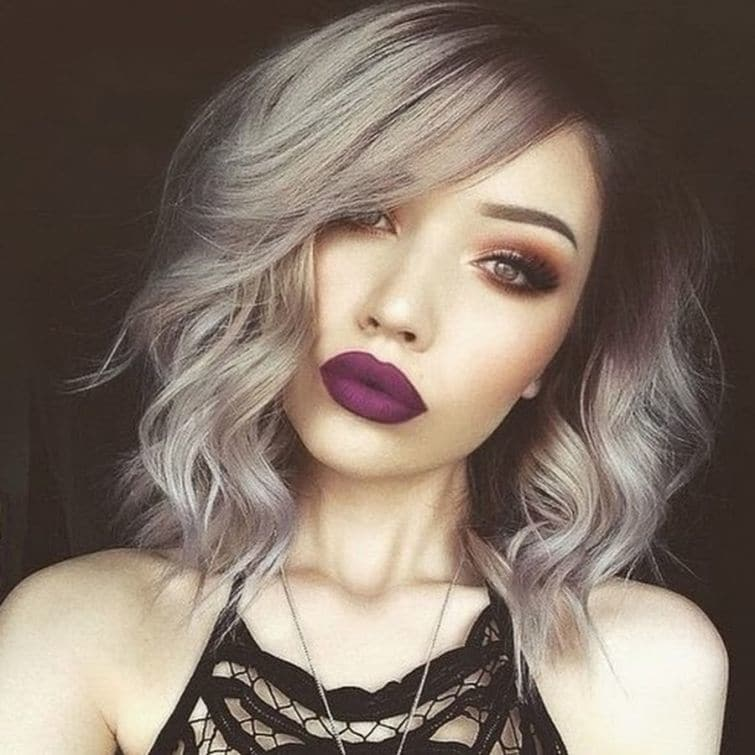 Grunge girl with Ombre Short Hairstyle and Dark Wine Colored Lipstick