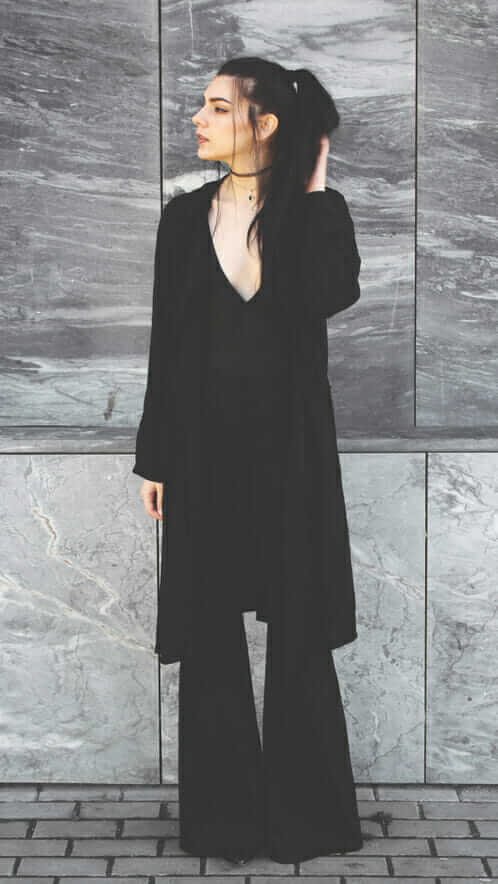 Deep V bodysuit, with a chiffon coat, and black flare pants