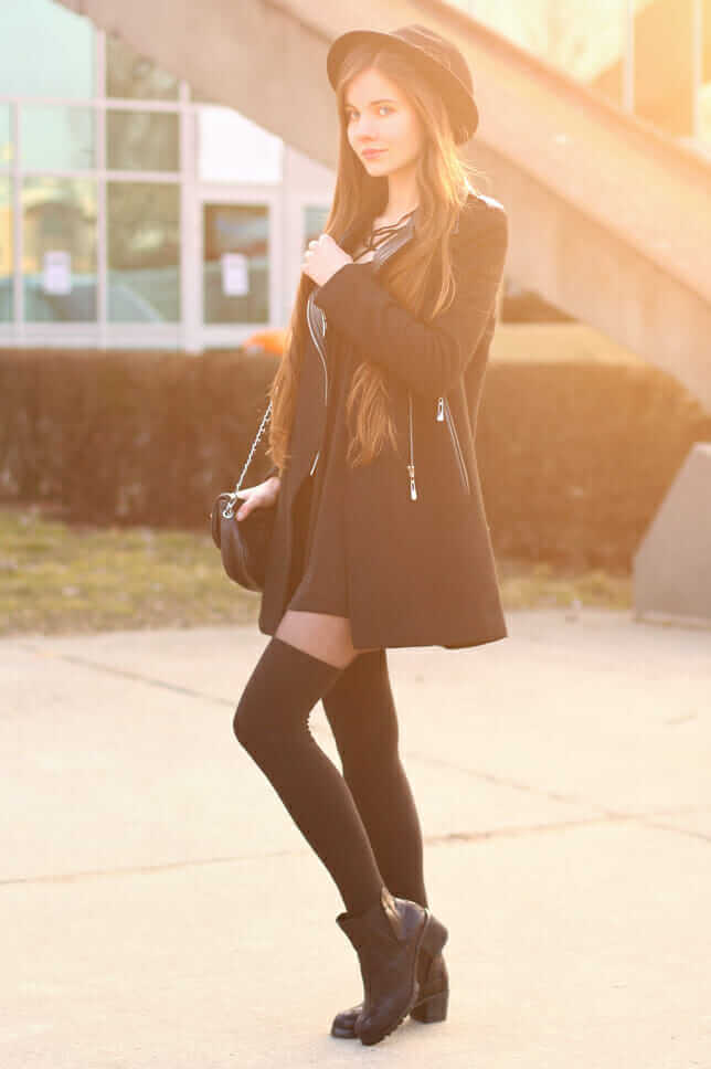 Simple black dress, with a black coat, Chelsea boots, and knee high socks
