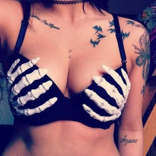 Inked girl with Skeleton Bra