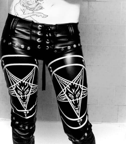 Leather leggings with Gothic designs