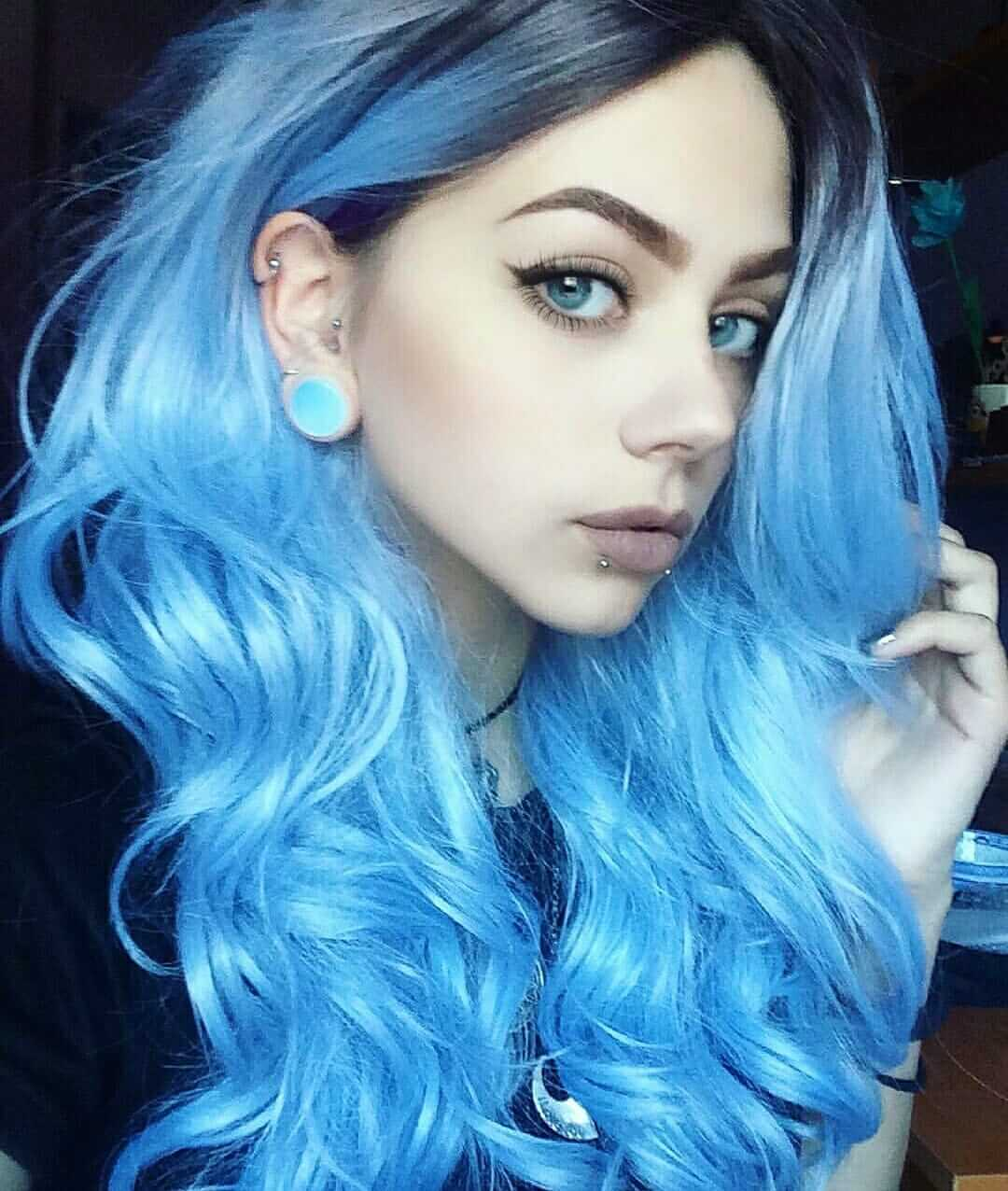Curly long blue dyed hairstyle
