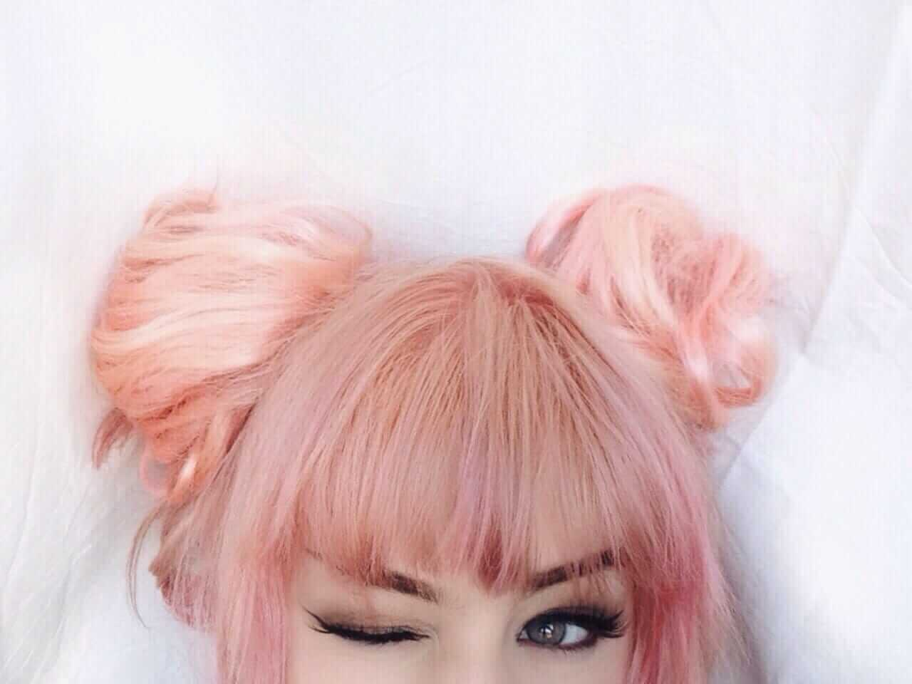 Cute Peach and Pink hairstyle with buns