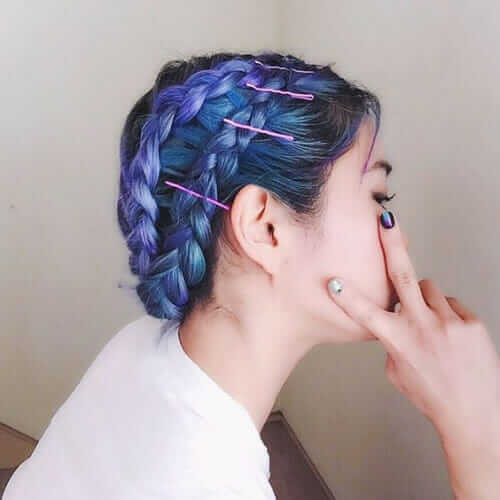 Cute lilac dyed braided hairstyle