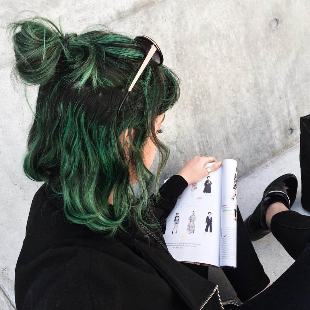 Dark green dyed hair grunge style