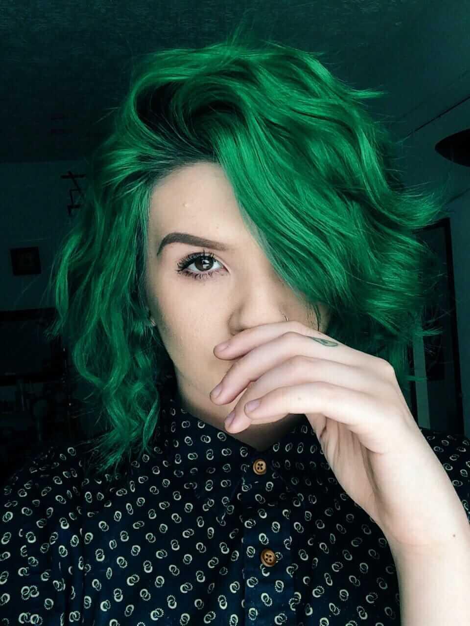 Dark green dyed hairstyle