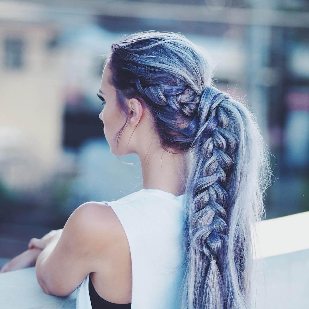 Long braided dark blue hairstyle