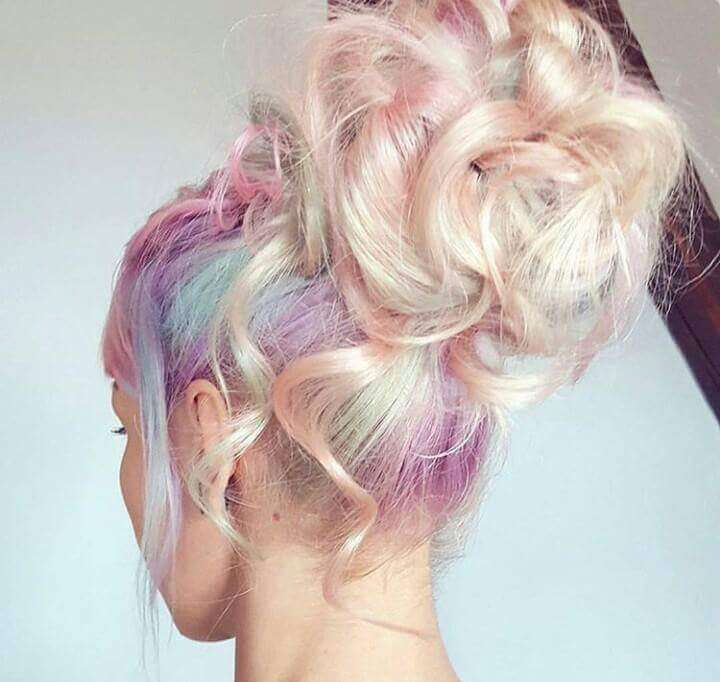 Pastel colors dyed hairstyle