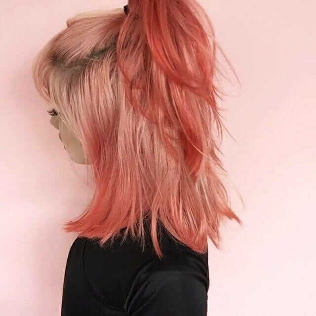 Pastel red dyed hairstyle with ponytail