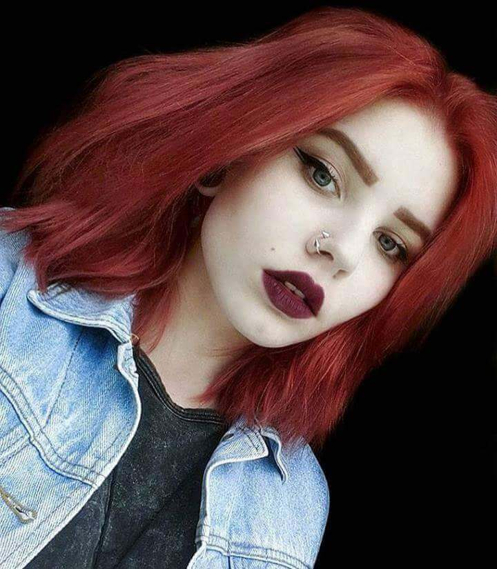 Punk red dyed hairstyle