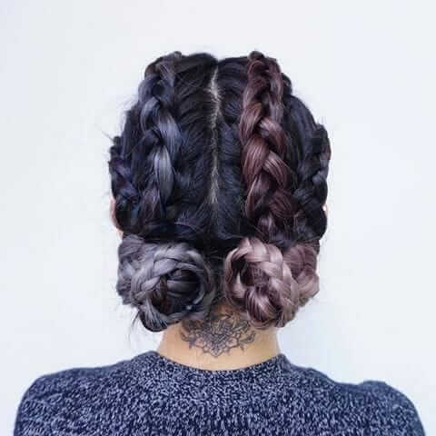 Purple and blue dyed Braided hair with buns
