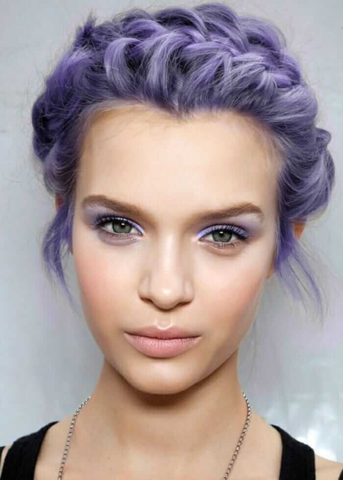 Short hairstyle with purple dye