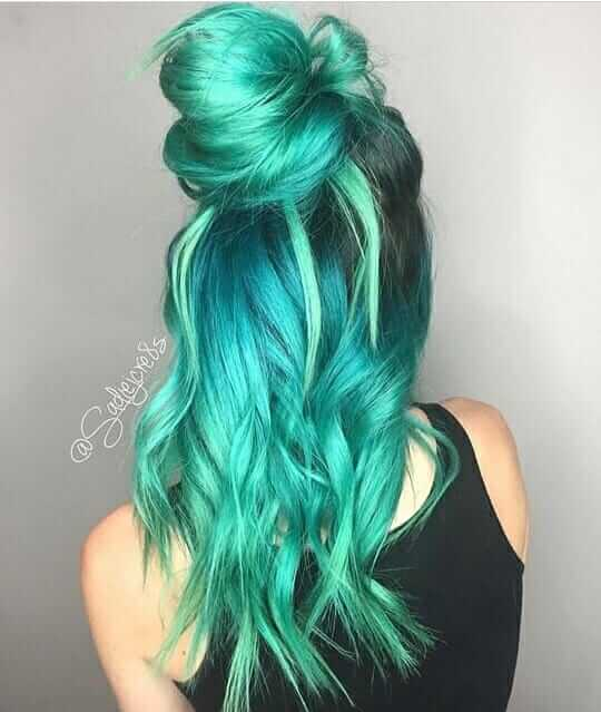Turquoise ombre long hairstyle