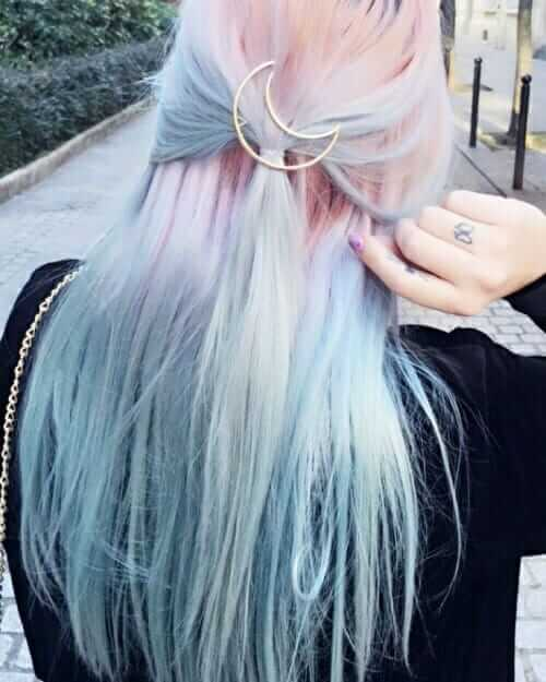 Pastel pink blue hairstyle