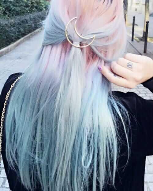 Pastel pink blue hairstyle