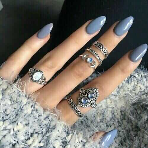Blue Grey Acrylic Nails