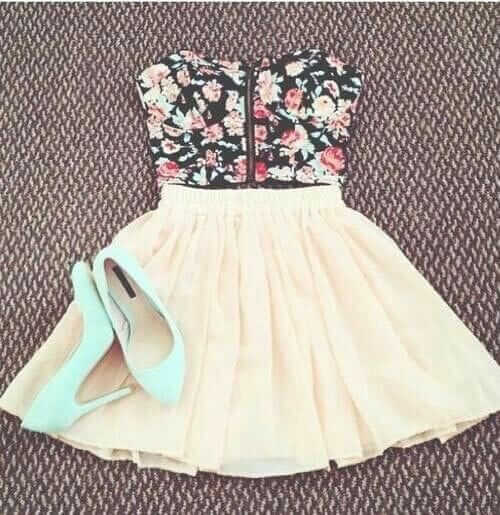 Floral corset with high waisted skirt