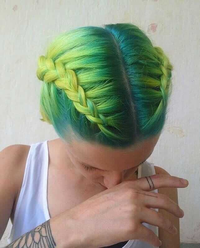 Knotted braids with dark to lime green ombre