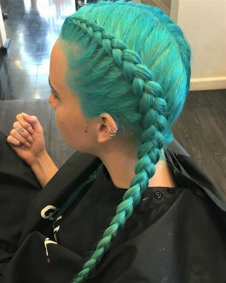 Turquoise with double dutch braid pig tails by ymsalon