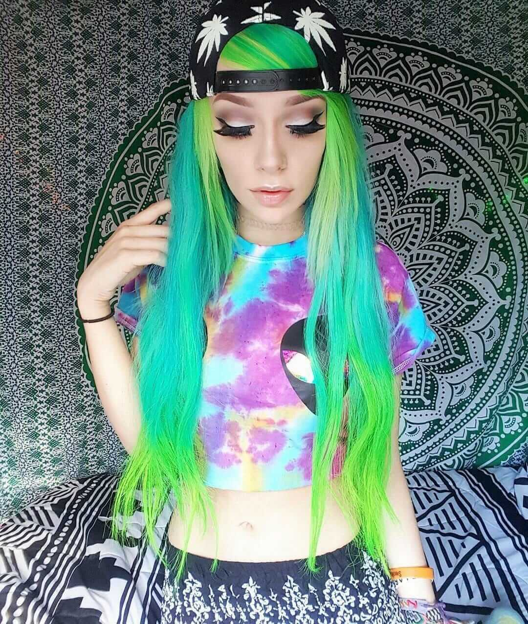 Long straight lime green mermaid hairstyle by bunnymeth